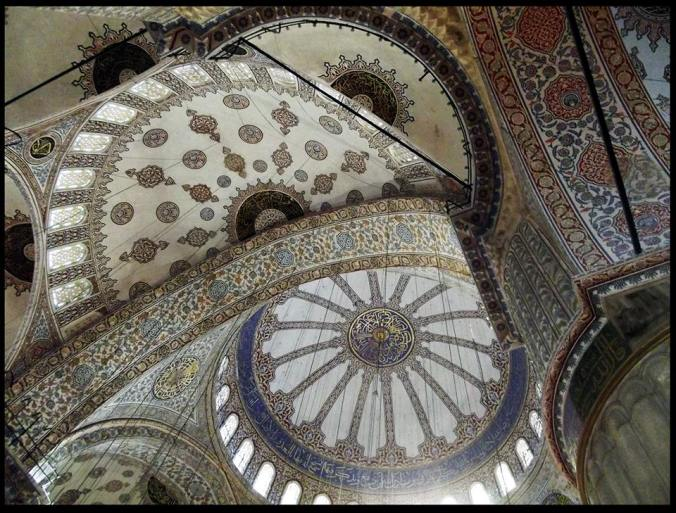 The amazing tiled ceilings of the Blue Mosque.