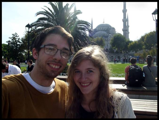 Selfie in Sultanahmet! We look quite rough, thanks to forgetting to pack shower essentials and the onset of colds.